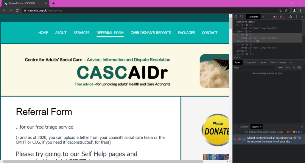 CASCAIDr as it would appear to people with disability software, ad blockers or security conscious people that have JavaScript disabled for whatever reason.